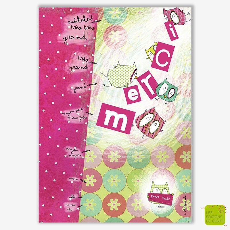 """Carte postale de remerciements """"Merci"""" illustrée par Valentine Iokem - Editionsdecortil.be"""